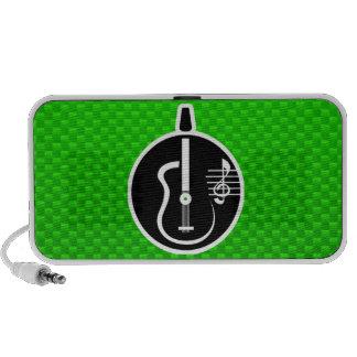Guitarra acústica verde altavoz de viaje