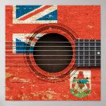 Guitarra acústica vieja con la bandera de Bermudas Impresiones