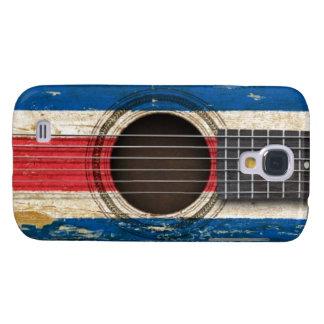 Guitarra acústica vieja con la bandera de Costa Ri Funda Para Samsung Galaxy S4