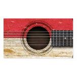 Guitarra acústica vieja con la bandera de Mónaco Tarjeta De Visita