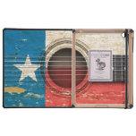 Guitarra acústica vieja con la bandera de Tejas iPad Funda