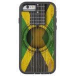 Guitarra acústica vieja con la bandera jamaicana funda de iPhone 6 tough xtreme