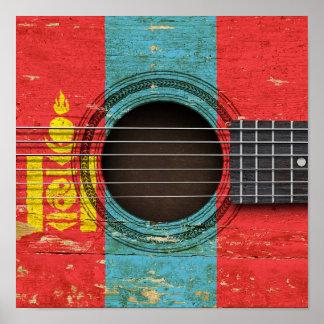 Guitarra acústica vieja con la bandera mongol