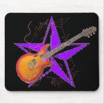 Guitarra ambarina Mousepad de la estrella púrpura  Alfombrilla De Ratones
