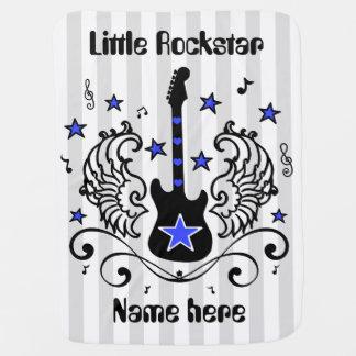Guitarra azul de la estrella del eje de balancín mantitas para bebé