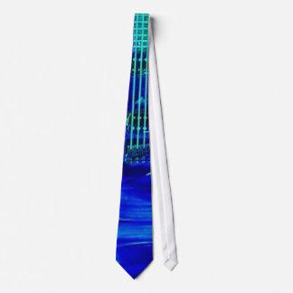 Guitarra azul de neón corbata