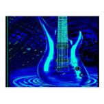 Guitarra azul de neón tarjeta postal