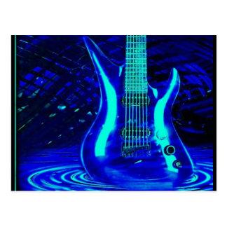 Guitarra azul de neón tarjetas postales