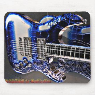 Guitarra azul del Web Tapete De Ratón