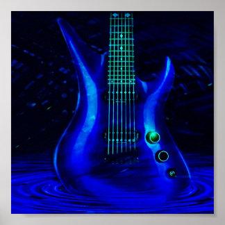 Guitarra azul eléctrica póster