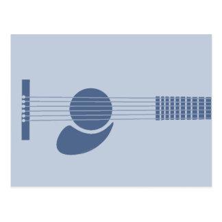 Guitarra azul postal