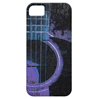 Guitarra azul, púrpura, negra en la cubierta del funda para iPhone SE/5/5s