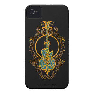 Guitarra azul y negra de oro compleja iPhone 4 fundas