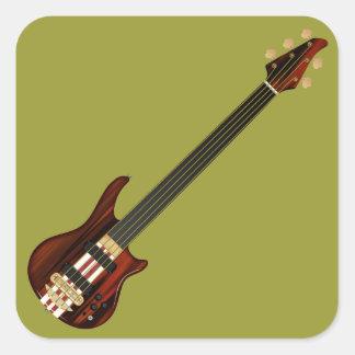 Guitarra baja de Alembi de cinco secuencias Pegatina Cuadrada