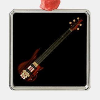 Guitarra baja de secuencia de Fretless 5 Adorno Navideño Cuadrado De Metal