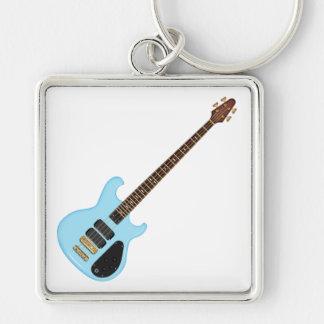 Guitarra baja del alambique azul llaveros personalizados