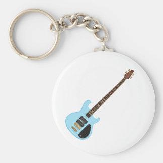 Guitarra baja del alambique azul llavero personalizado