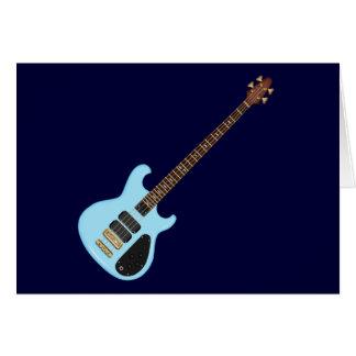 Guitarra baja del alambique azul tarjeta de felicitación