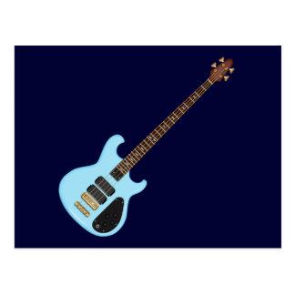 Guitarra baja del alambique azul tarjetas postales