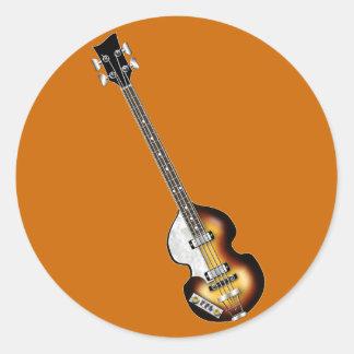 Guitarra baja del violín pegatina redonda