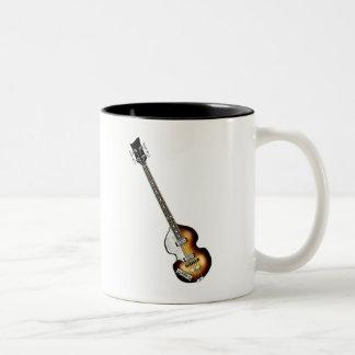 Guitarra baja del violín taza de café de dos colores