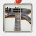 Guitarra baja eléctrica adorno navideño cuadrado de metal