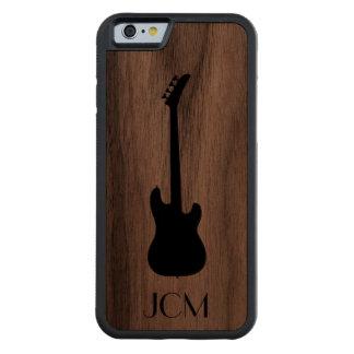 Guitarra baja negra moderna del monograma funda de iPhone 6 bumper nogal
