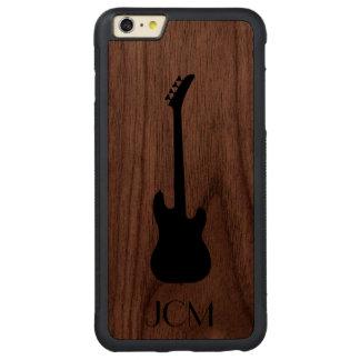 Guitarra baja negra moderna del monograma funda de nogal bumper carved® para iPhone 6 plus
