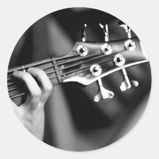 guitarra baja pegatinas redondas