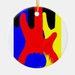 Guitarra baja que pinta colores brillantes abstrac ornamento para arbol de navidad