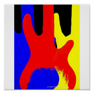 Guitarra baja que pinta colores brillantes abstrac póster