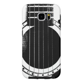 Guitarra blanco y negro del vintage fundas samsung galaxy s6