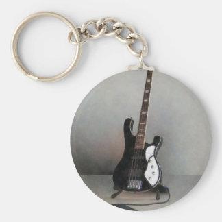 Guitarra blanco y negro llavero redondo tipo pin