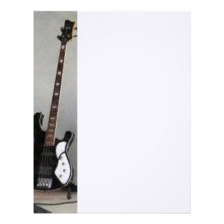Guitarra blanco y negro membrete personalizado