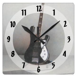 Guitarra blanco y negro reloj cuadrado