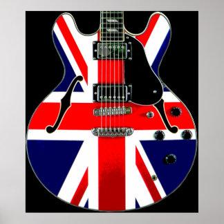 Guitarra británica de Union Jack de la bandera Posters