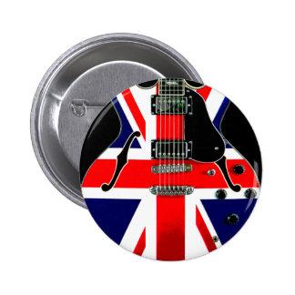 Guitarra británica de Union Jack de la bandera Pin Redondo De 2 Pulgadas