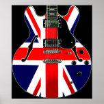 Guitarra británica de Union Jack de la bandera Póster