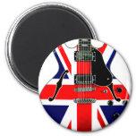 Guitarra británica de Union Jack Imán Redondo 5 Cm