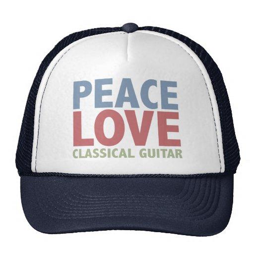 Guitarra clásica del amor de la paz gorras