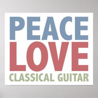 Guitarra clásica del amor de la paz póster