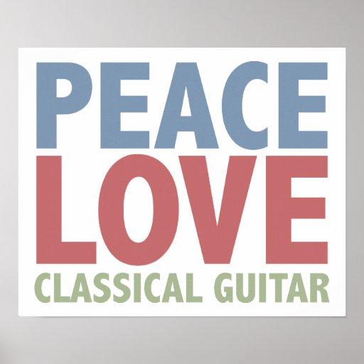 Guitarra clásica del amor de la paz posters