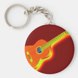 Guitarra clásica del arte pop llavero redondo tipo pin