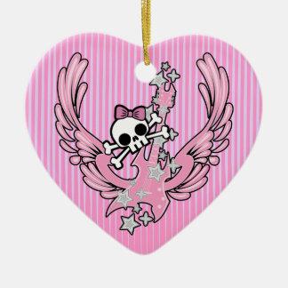 Guitarra coa alas con el cráneo lindo adorno navideño de cerámica en forma de corazón