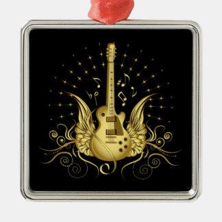 Guitarra coa alas de oro adorno navideño cuadrado de metal