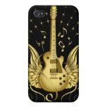 Guitarra coa alas de oro iPhone 4 funda