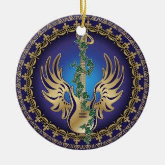 Guitarra coa alas divina adorno navideño redondo de cerámica