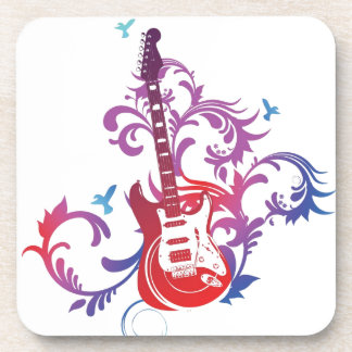 Guitarra colorida posavaso