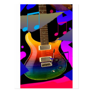 ¡Guitarra colorida - roca encendido! Postal