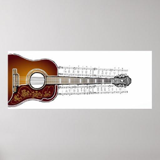 Guitarra con partitura - impresión del vintage del impresiones
